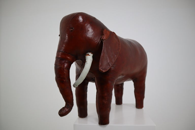 Mid-Century Modern Leather Elephant Foot Stool by Dimitri Omersa for Abercrombie and Fitch For Sale
