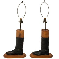 Leather Equestrian Boot Lamps