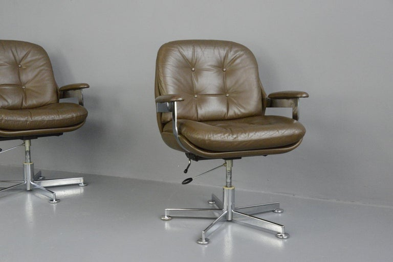 Leather Executive Chairs by Ring Mobelfabrikk, circa 1970s For Sale 5