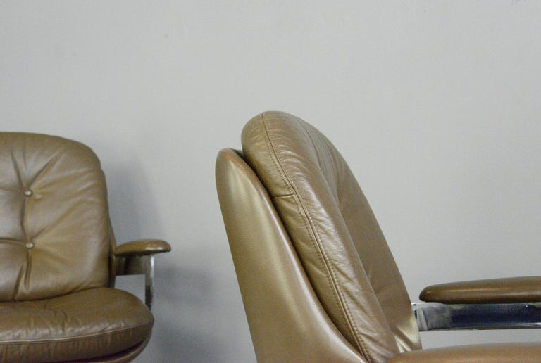 Leather Executive Chairs by Ring Mobelfabrikk, circa 1970s For Sale 3