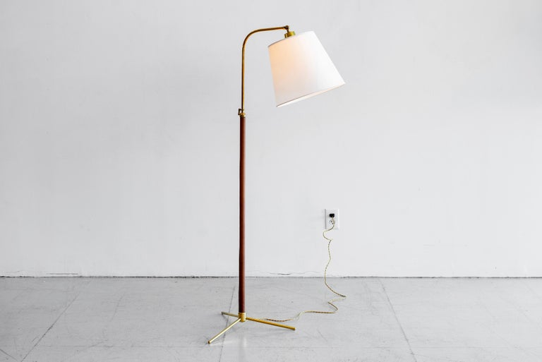 French Leather Floor Lamp in the Style of Jacques Adnet For Sale