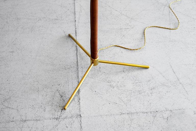 Brass Leather Floor Lamp in the Style of Jacques Adnet For Sale