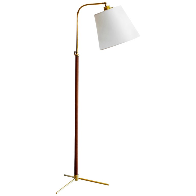 Leather Floor Lamp in the Style of Jacques Adnet For Sale