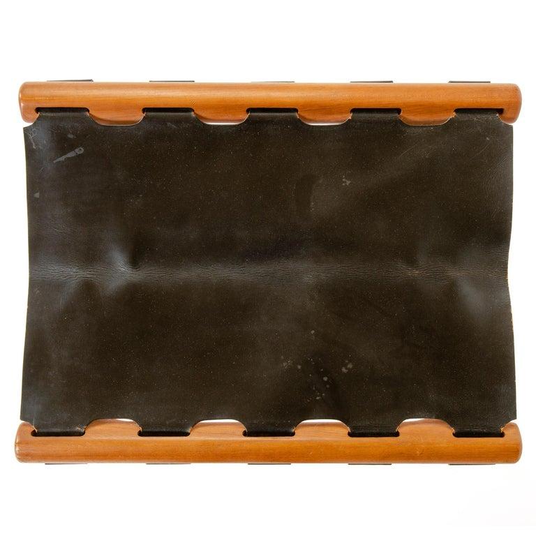 Scandinavian Modern Leather Folding Stool by Poul Hundevad For Sale