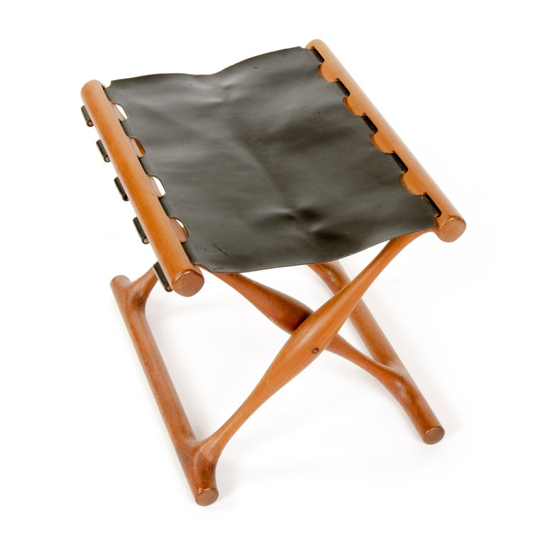 Danish Leather Folding Stool by Poul Hundevad For Sale