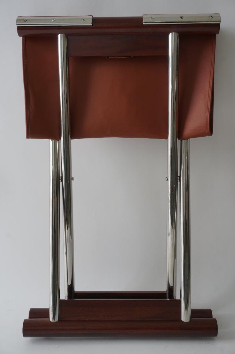 Leather Folding X-Sling Stool 4