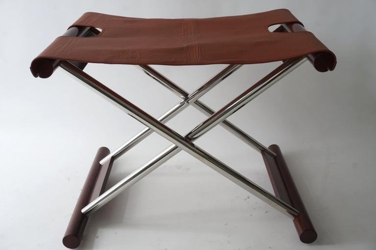 Modern Leather Folding X-Sling Stool