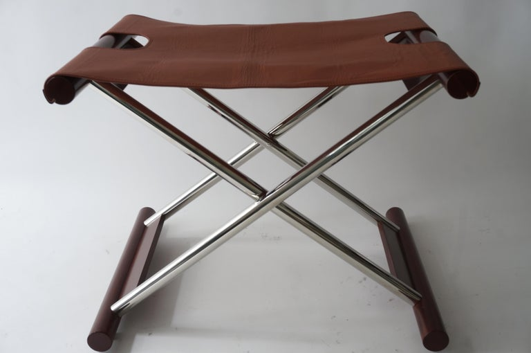Leather Folding X-Sling Stool In Good Condition In West Palm Beach, FL