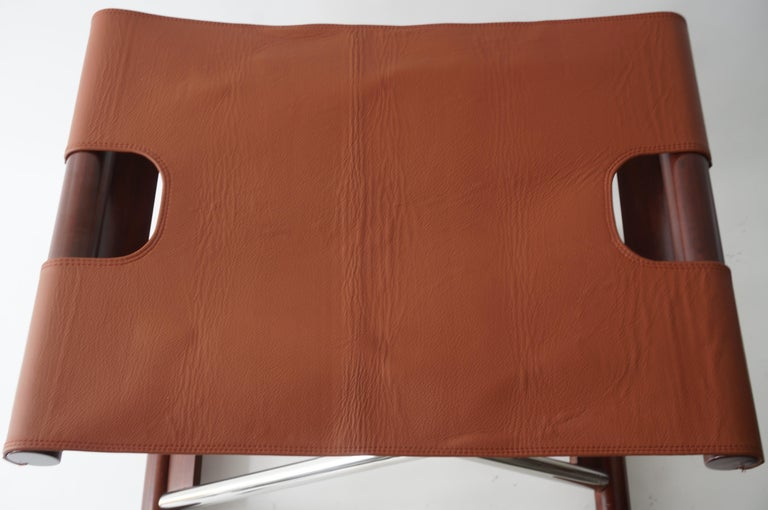 Steel Leather Folding X-Sling Stool