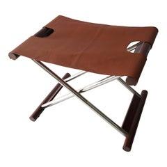 Leather Folding X-Sling Stool
