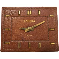Leather French Endura Desk Clock Jacques Adnet Style