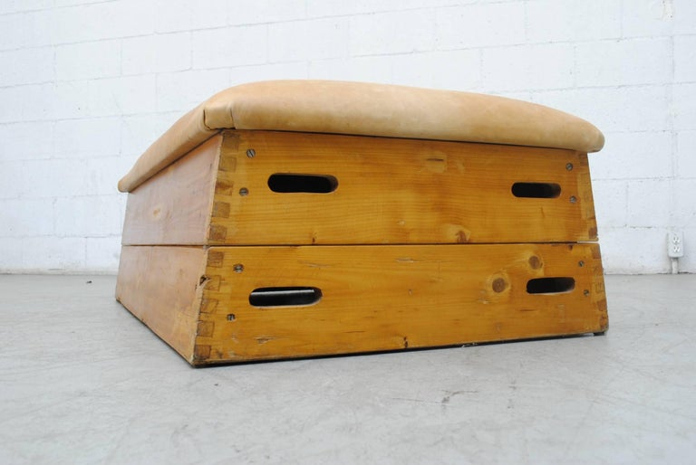 Mid-Century Modern Leather Gymnastic Horse Bench or Coffee Table For Sale