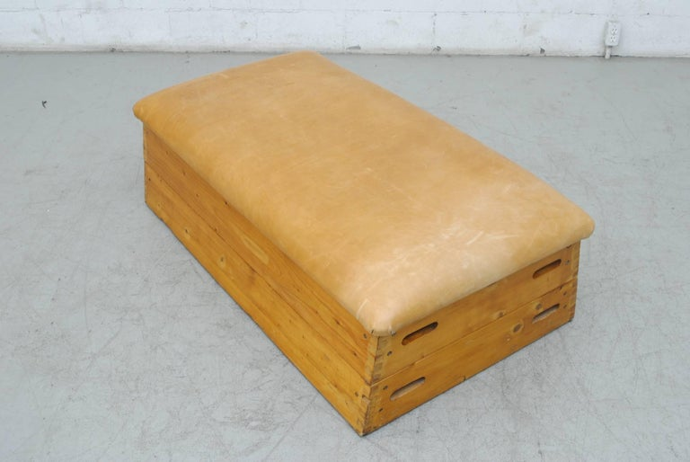 Dutch Leather Gymnastic Horse Bench or Coffee Table For Sale