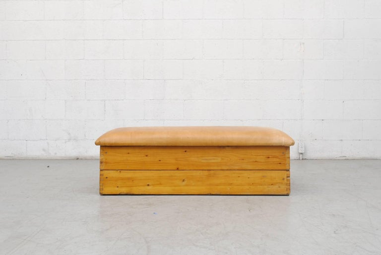 Late 20th Century Leather Gymnastic Horse Bench or Coffee Table For Sale