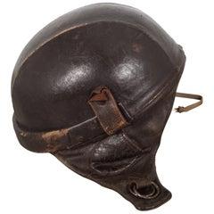 Leather Half Bowl Motorcycle Helmet, circa 1940