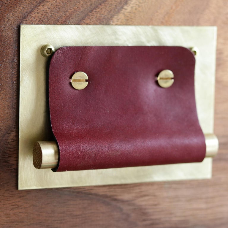 Modern Leather Handle And Burnished Brass Cabinet Door Pulls For Sale