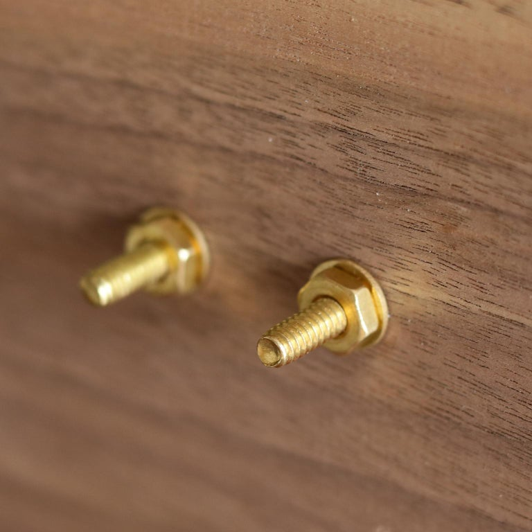 Hand-Crafted Leather Handle And Burnished Brass Cabinet Door Pulls For Sale