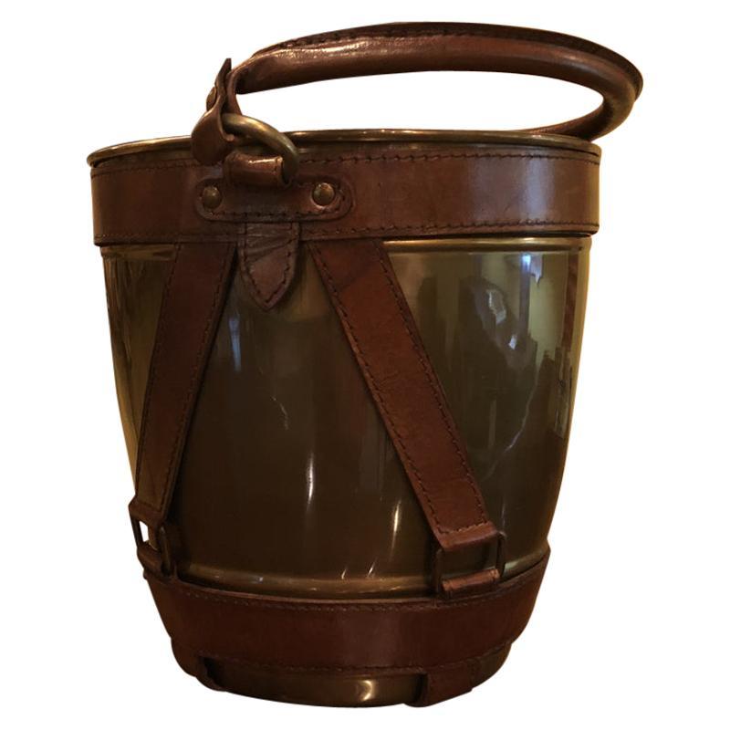 Leather Handle Midcentury Style Champagne Ice Bucket