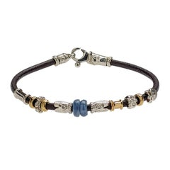 Leather Handmade Bracelet with Natural Stone and Silver Elements