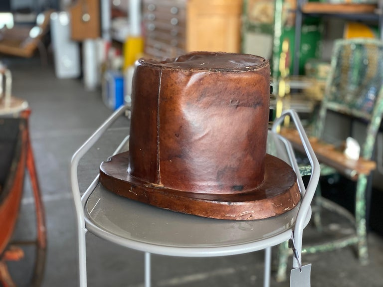 French Leather Hat Box for Cylinders, Early 19th Century For Sale