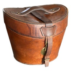 Leather Hat Box with Brass Fasteners, circa 1900, Bandbox, Brown