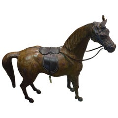 Brown Leather with Horse Sculpture, France, 19th Century