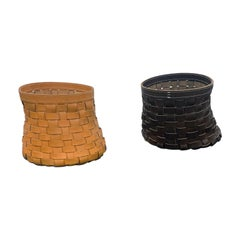 Leather Intrecci Round Baskets by Arte & Cuoio