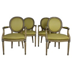 Leather Louis XVI Armchairs / Dining Chairs Set of 4