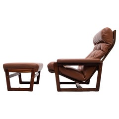 Leather Lounge Chair and Ottoman, 1970s, Denmark