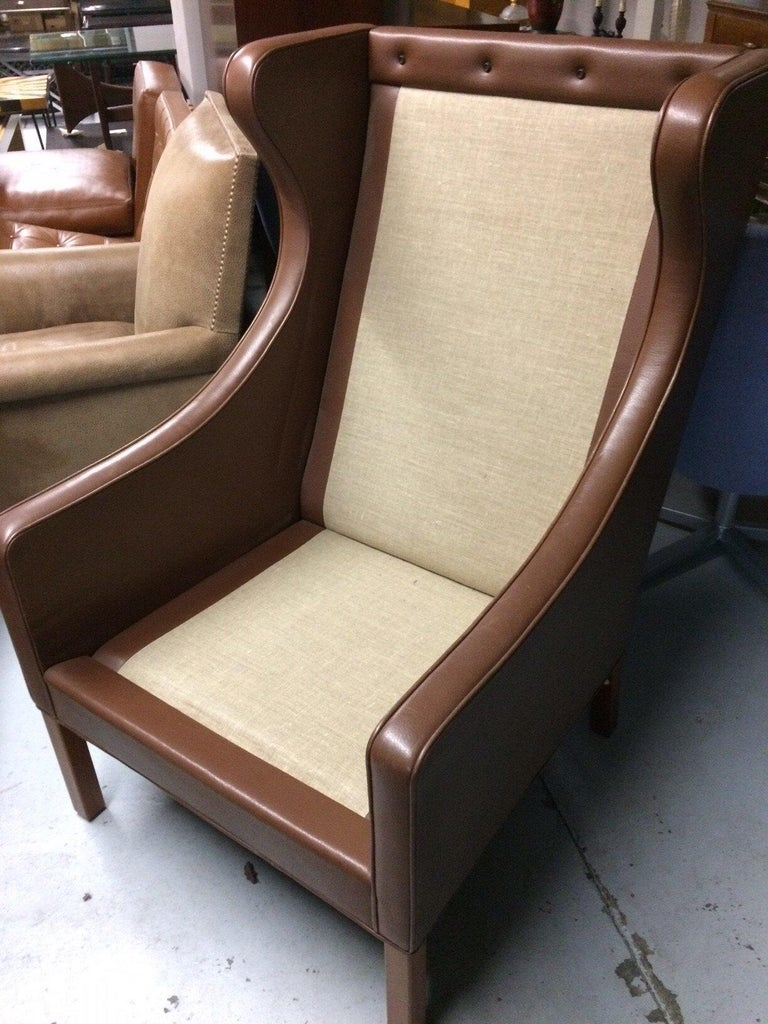 Leather Lounge Chair and Ottoman by Borge Mogensen In Excellent Condition For Sale In New York, NY