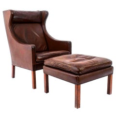 Leather Lounge Chair and Ottoman by Borge Mogensen