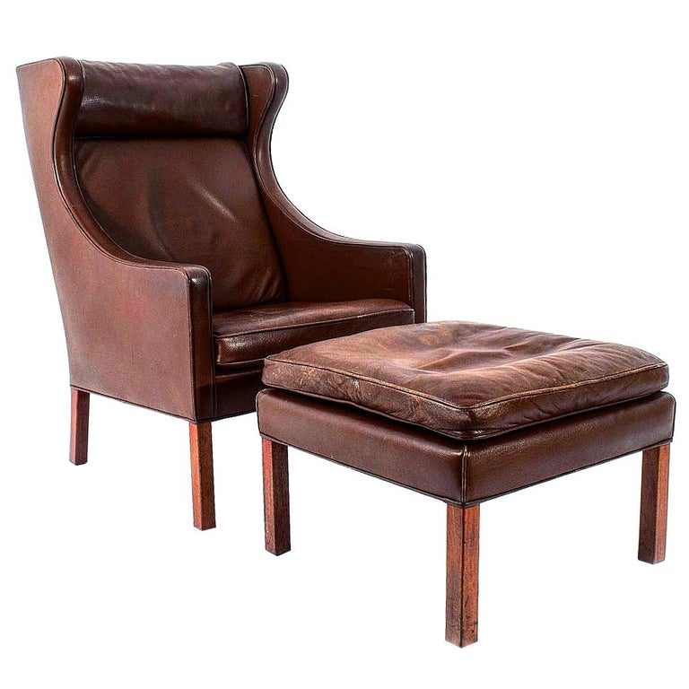 Leather Lounge Chair and Ottoman by Borge Mogensen For Sale