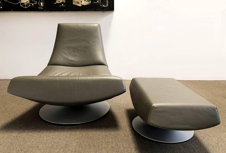 Hand-Crafted Geoffrey Harcourt for Artifort Leather Lounge Chair and Ottoman  For Sale
