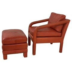 Leather Lounge Chair and Ottoman Style of Gilbert Rohde