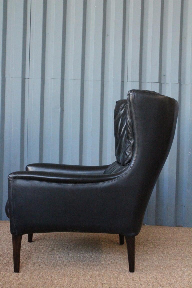 Mid-Century Modern Leather Lounge Chair by Kurt Østervig, Denmark, 1950s For Sale