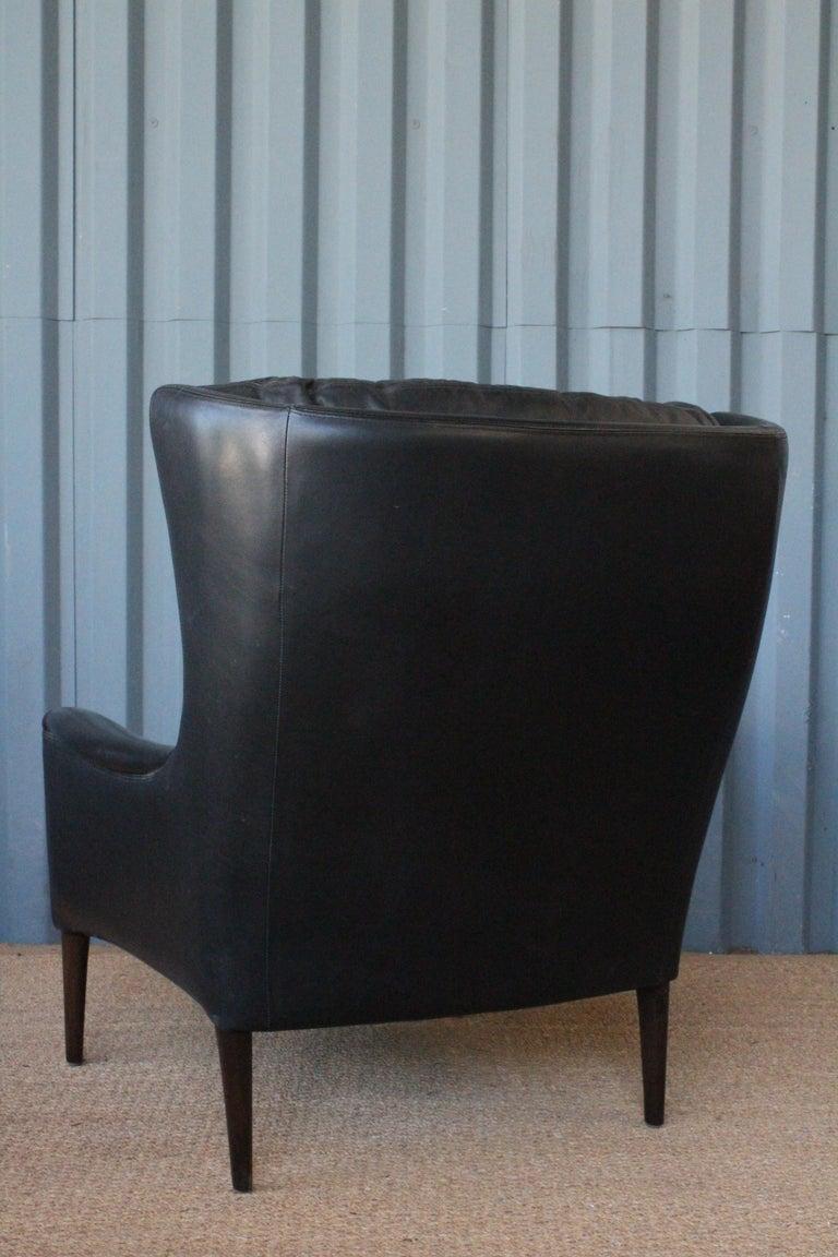 Danish Leather Lounge Chair by Kurt Østervig, Denmark, 1950s For Sale
