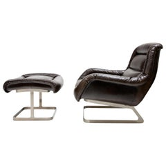 Leather Lounge Chair, circa 1980s