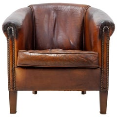Leather Lounge Chair, English Country Style 1960s