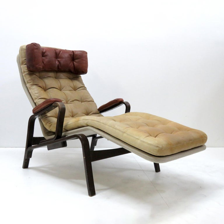 Scandinavian Modern Leather Lounge Chair 'Fenix' by Sam Larsson for DUX, 1970 For Sale