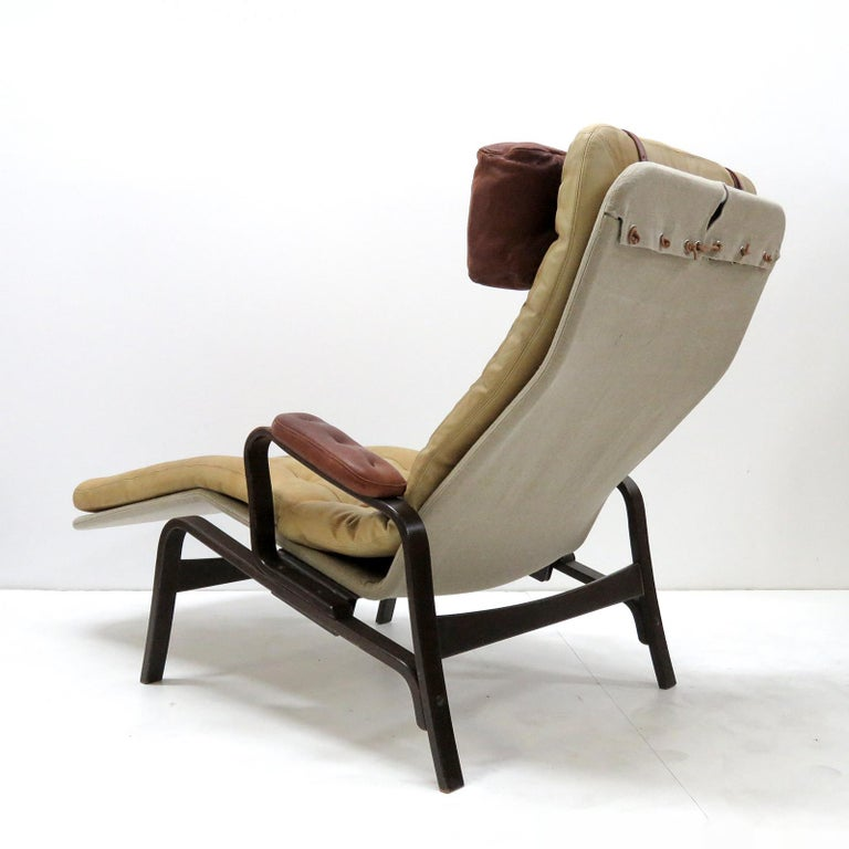 Swedish Leather Lounge Chair 'Fenix' by Sam Larsson for DUX, 1970 For Sale