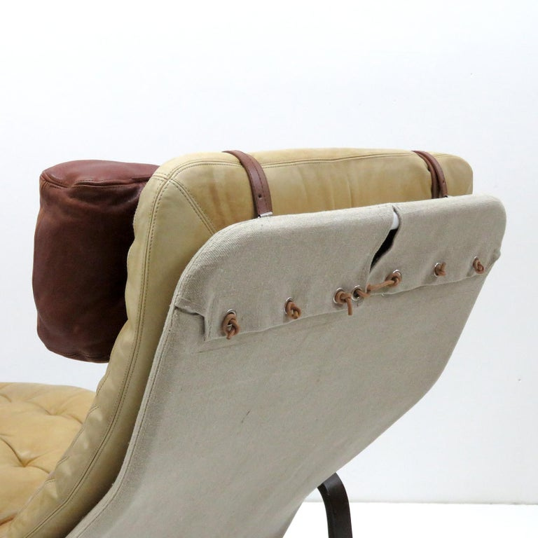 Late 20th Century Leather Lounge Chair 'Fenix' by Sam Larsson for DUX, 1970 For Sale
