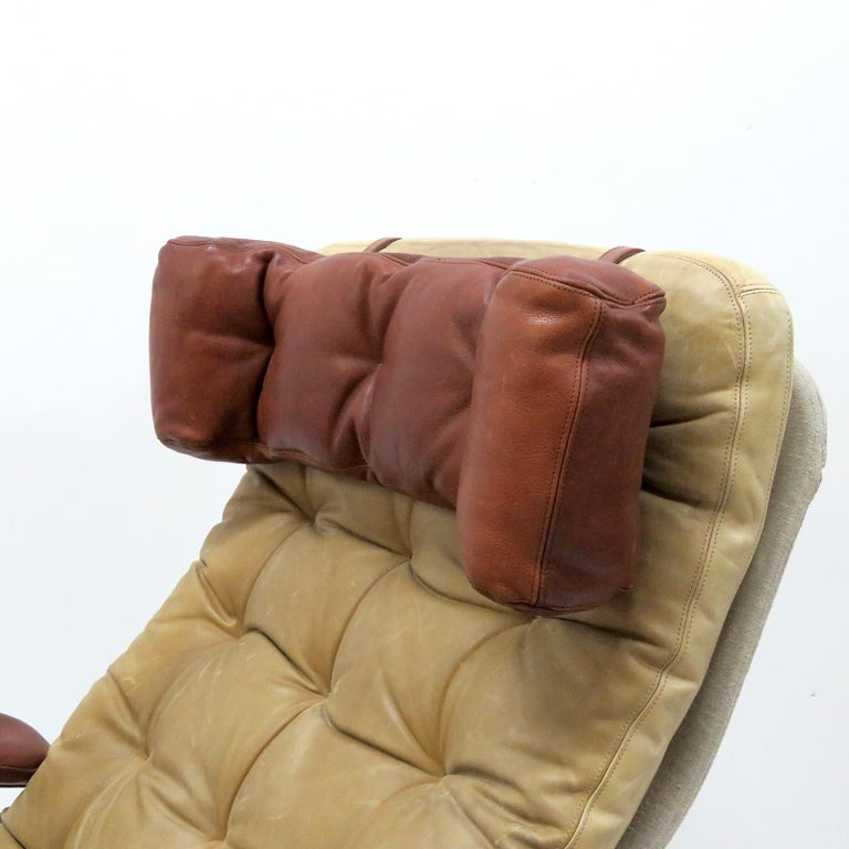 Metal Leather Lounge Chair 'Fenix' by Sam Larsson for DUX, 1970 For Sale