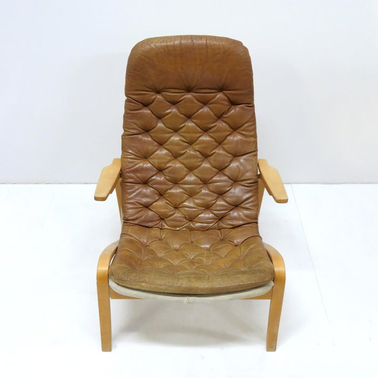 Scandinavian Modern Leather Lounge Chair 'Metro' by Sam Larsson for DUX, 1970 For Sale