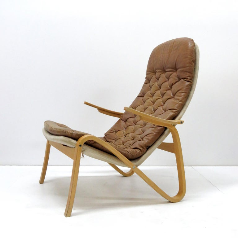 Swedish Leather Lounge Chair 'Metro' by Sam Larsson for DUX, 1970 For Sale
