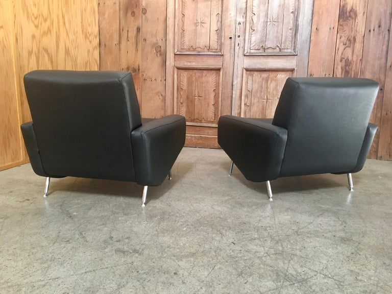 French Leather Lounge Chairs by Airborne For Sale