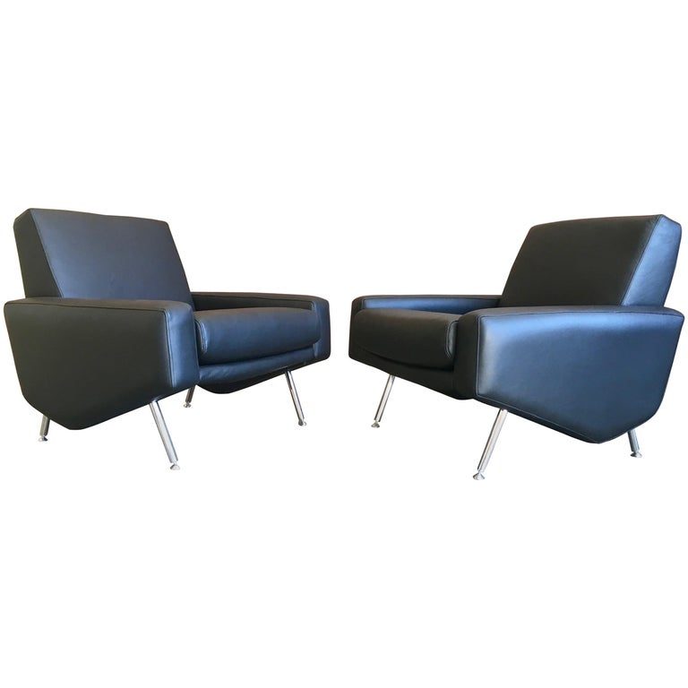 Leather Lounge Chairs by Airborne For Sale