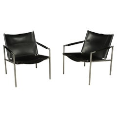 Leather Lounge Chairs by Martin Visser, Model 'SZ02' for 't Spectrum Bergeijk