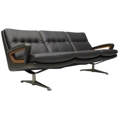Leather Lounge Sofa by Carl Straub, Germany, 1960s