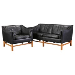 Leather Love Seat and Armchair by Grandt
