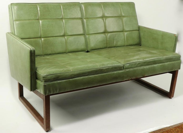 Leather Loveseat Sofa by Gunlocke For Sale 4